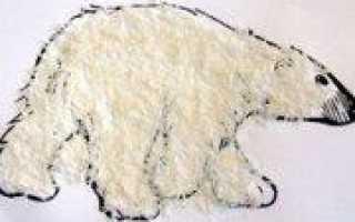 Белый медведь в технике аппликация по фото и видео урокам