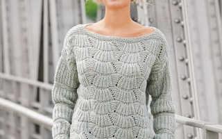 Джемпер женский с веерным узором спицами: схемы, фото, видео