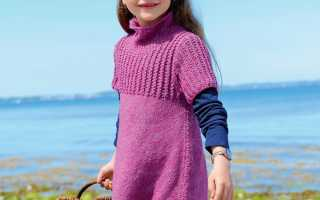 Туника для девочки с воротником стойкой спицами: узоры и схемы, пошаговое описание вязания, видео