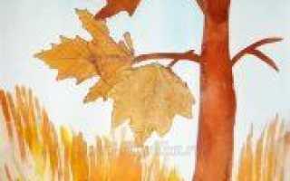 Аппликация осень из листвы и природных материалов с шаблонами