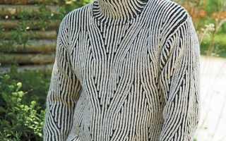 Мужской свитер с узором косами спицами: описание, схемы, видео МК, 5 моделей