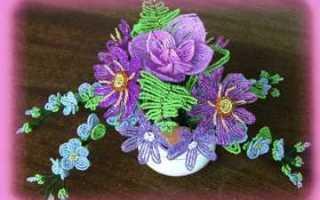 Цветы букеты и композиции из бисера с пошаговыми фото