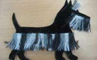 Забавная аппликация собака из бумаги, тканив в пошаговом МК