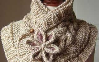 Необычный женский шарф спицами: описание, фото