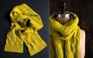 Длинный шарф от Purl Soho с красивым узором спицами: фото, видео мк