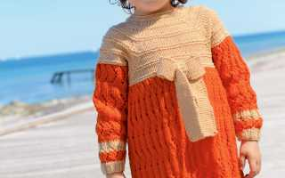 Двуцветное платье с бантом спицами: схемы и узоры, описание вязания, видео мк, 2 модели