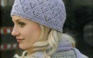 Ажурная шапочка спицами модели для вязания