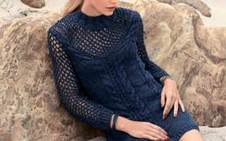 Платье с ажурной кокеткой спицами: узоры и схемы, описание вязания, видео мк, 2 модели