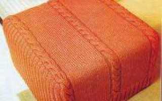 Вязание спицами к Деню Победы чехла на пуф и подушки с красивым узором