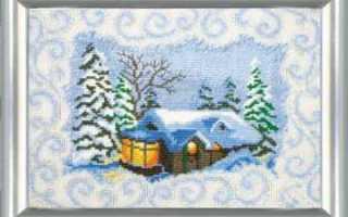 Зима вышивка крестом по схеме и видео отчет готовой картины
