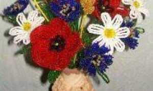 Троица: полевые цветы из бисера (фото, схема)