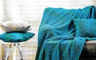 Комплект из пледа и подушек с косами: 6 вариантов со схемами, описанием и мк