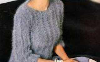 Пуловер из ангоры спицами с описанием вязания (схемы)