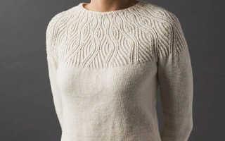 Женский свитер с изящной кокеткой спицами: узоры, описание вязания, видео мк, 8 моделей