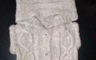 Вязаный жилет спицами с капюшоном (фото и схемы)