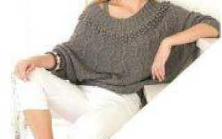 Пуловер летучая мышь, вязание спицами по схеме с описанием