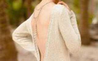 Пуловер с открытой спиной спицами со схемой вязания