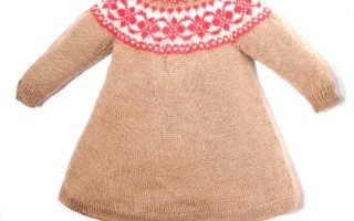 Платье детское на круглой кокетке: схемы и узоры, описание вязания, видео мк