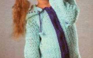 Процесс вязание спицами кофты с капюшоном для девочки