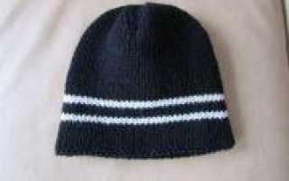 Двойная мужская шапка спицами: схема и описание вязания