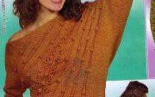 Асимметричный пуловер спицами со спущенными плечами