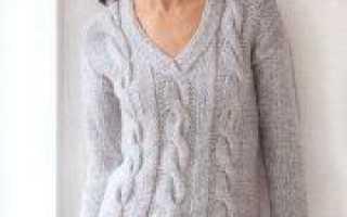 Джемпер с косами женский спицами (схема и выкройка)