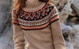 Пуловер с круглой кокеткой спицами по схеме с описанием