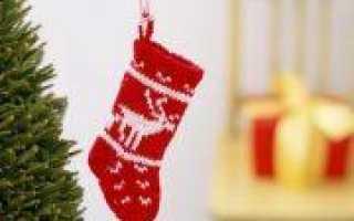 Рождество Христово: вязание носка спицами по схеме с описанием