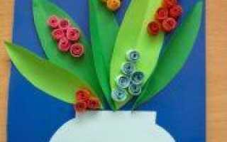 Аппликация на 8 Марта из цветной бумаши и шаблона