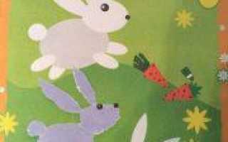Зайчик: аппликация для детей из бумаги и ткани