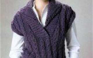 Вязаный жилет с косами: вязание узора по схеме