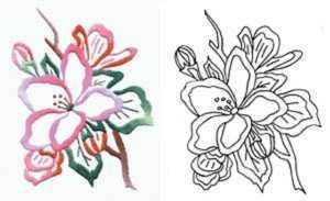 Схема вышики цветка