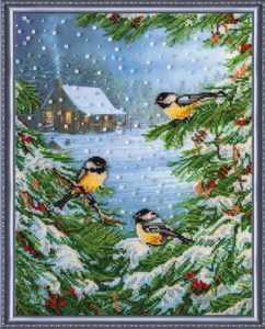 Вышивка со снегирями