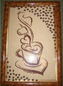 Картина с кофе, вышитая крестиком