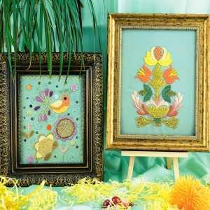 Картины с золотным шитьем